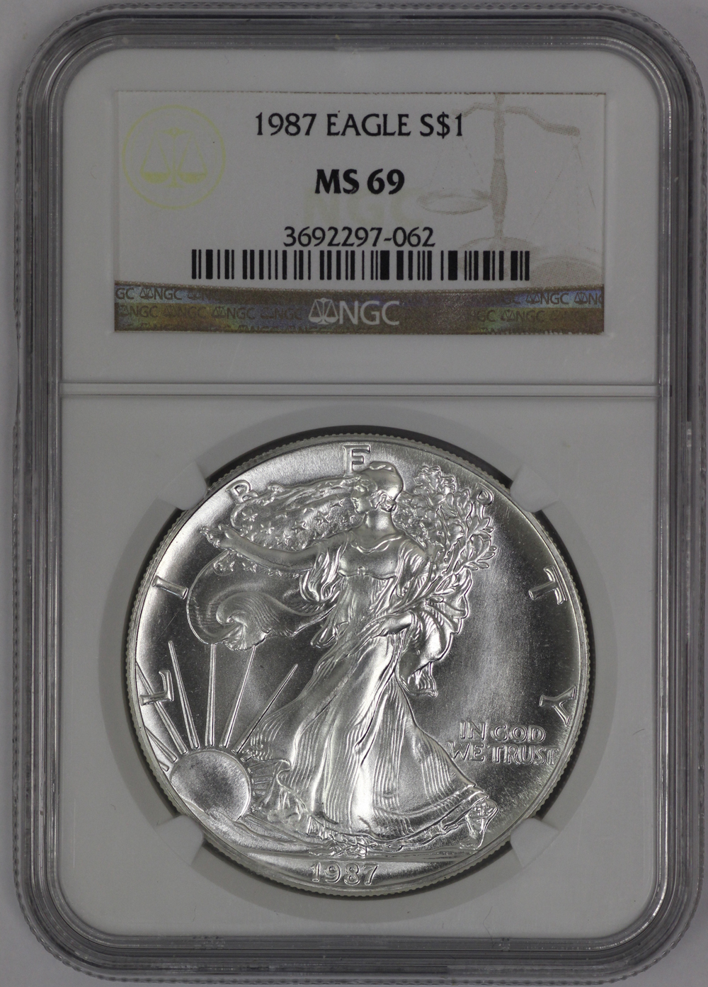 1987 Silver Eagle Brown Label NGC MS69 - Portsmouth Coin